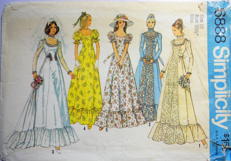 Simplicity 6888. Bridal gown pattern. Vintage 1975 wedding