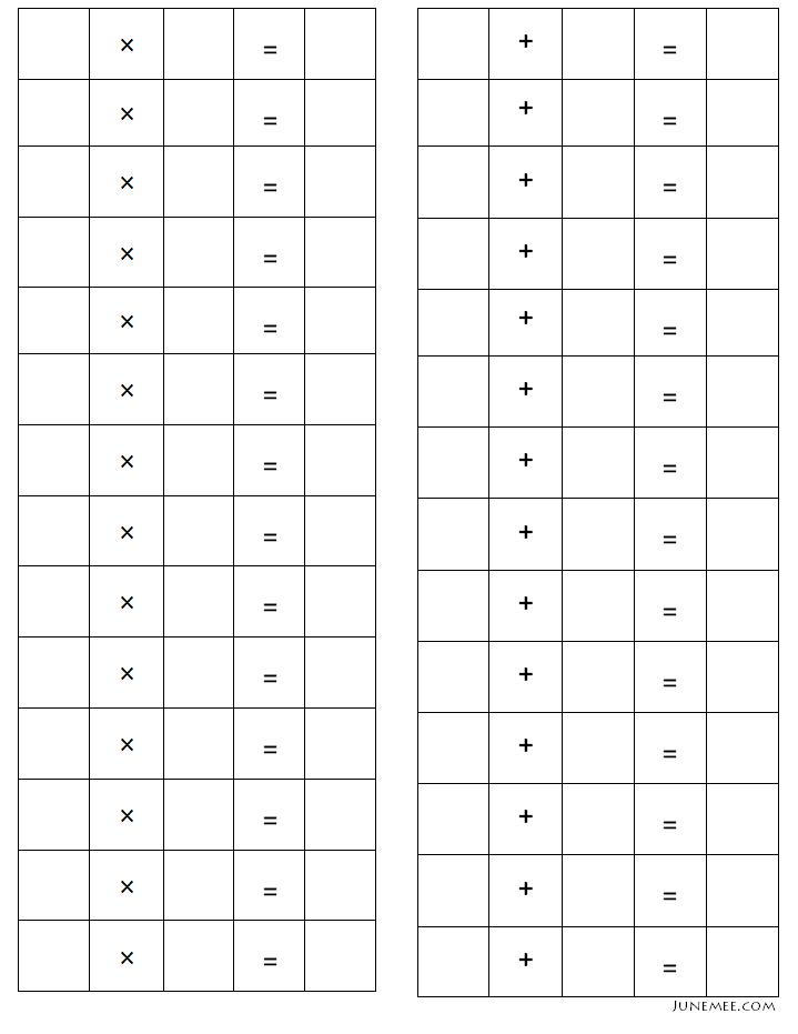 computation addition subtraction multiplication division blank worksheets nurture kid 39 s. Black Bedroom Furniture Sets. Home Design Ideas