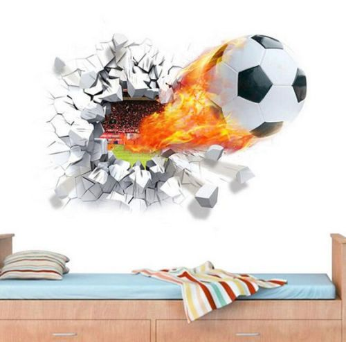 Flying Firing Football Wall Stickers Kids Room Decoration Home Decals  Soccer Funs Mural Art Sport Game Pvc Diy Posters