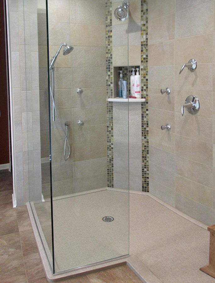 Remodeling your bathroom? Solid surface showers are beautiful ...