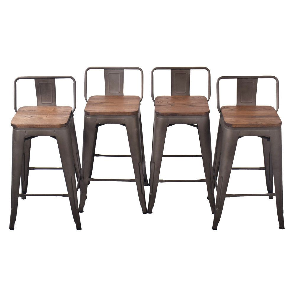 Metal Steel 24 Bar Stool Set Of 4 Low Back Wooden Seat Counter Chair Rusty Bar Stools Ideas Of Bar Stools Bar Stools Backless Bar Stools Metal Bar Stools