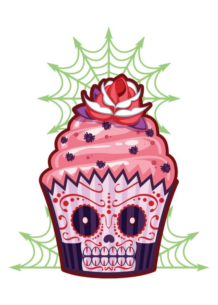 Disegno Originale Di Un Cup Cake Con Il Teschio Stilizzato