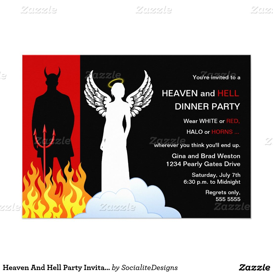 Heaven and hell party invitation pinterest party invitations heaven and hell party invitations 5 x 7 invitation card stopboris Images