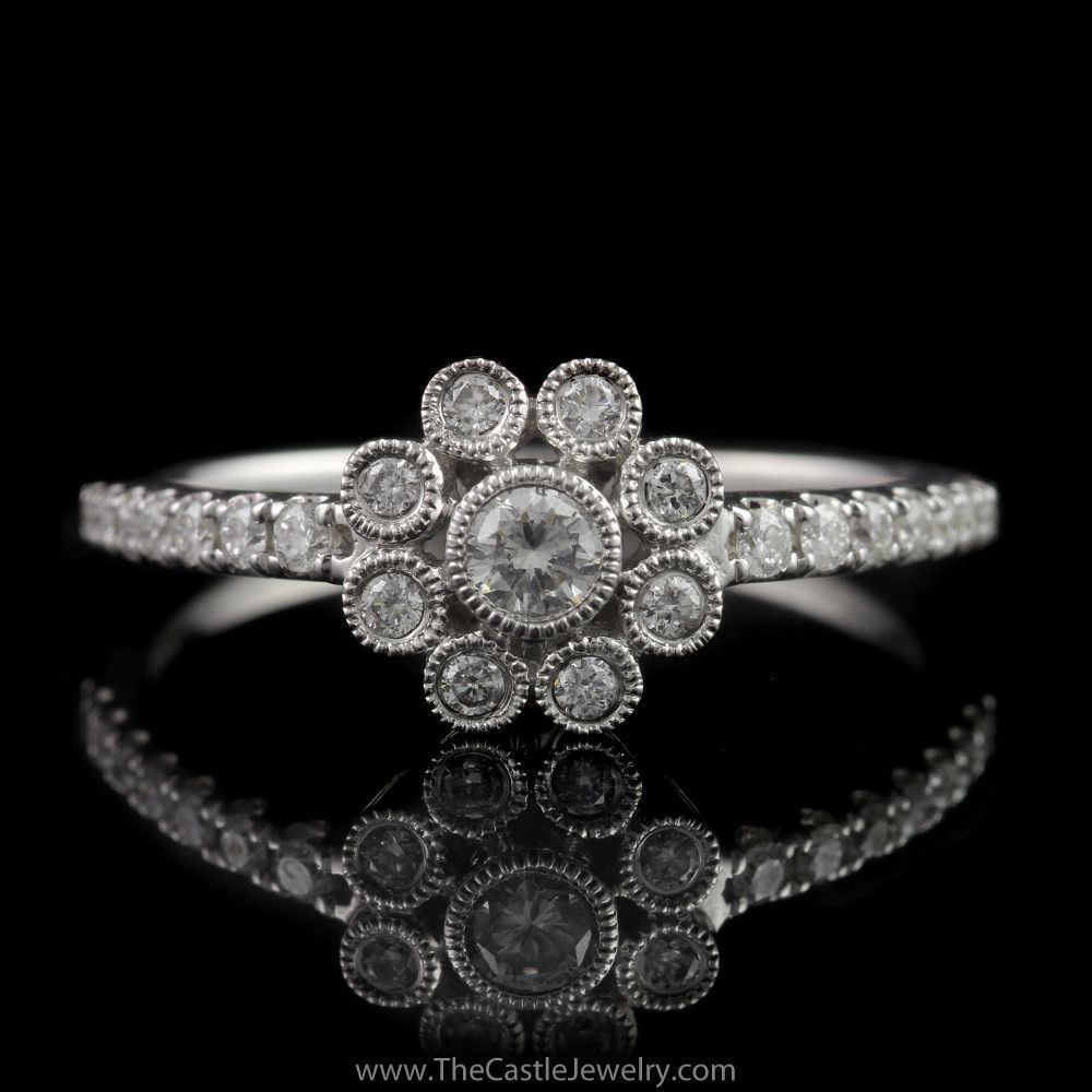 Neil lane designer flower cluster diamond ring with accented sides