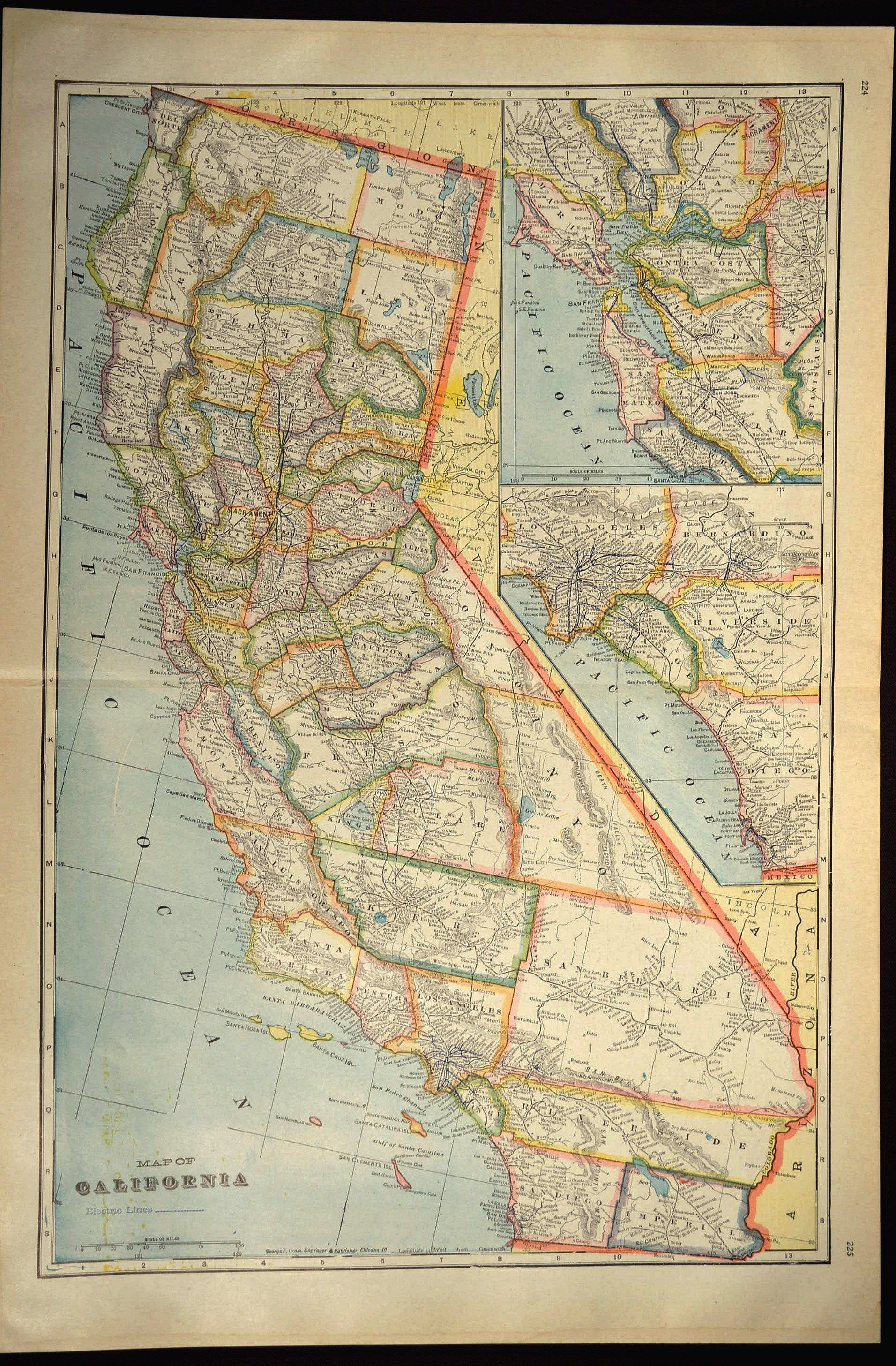 California Map of California Wall Art Decor LARGE Antique Colorful on