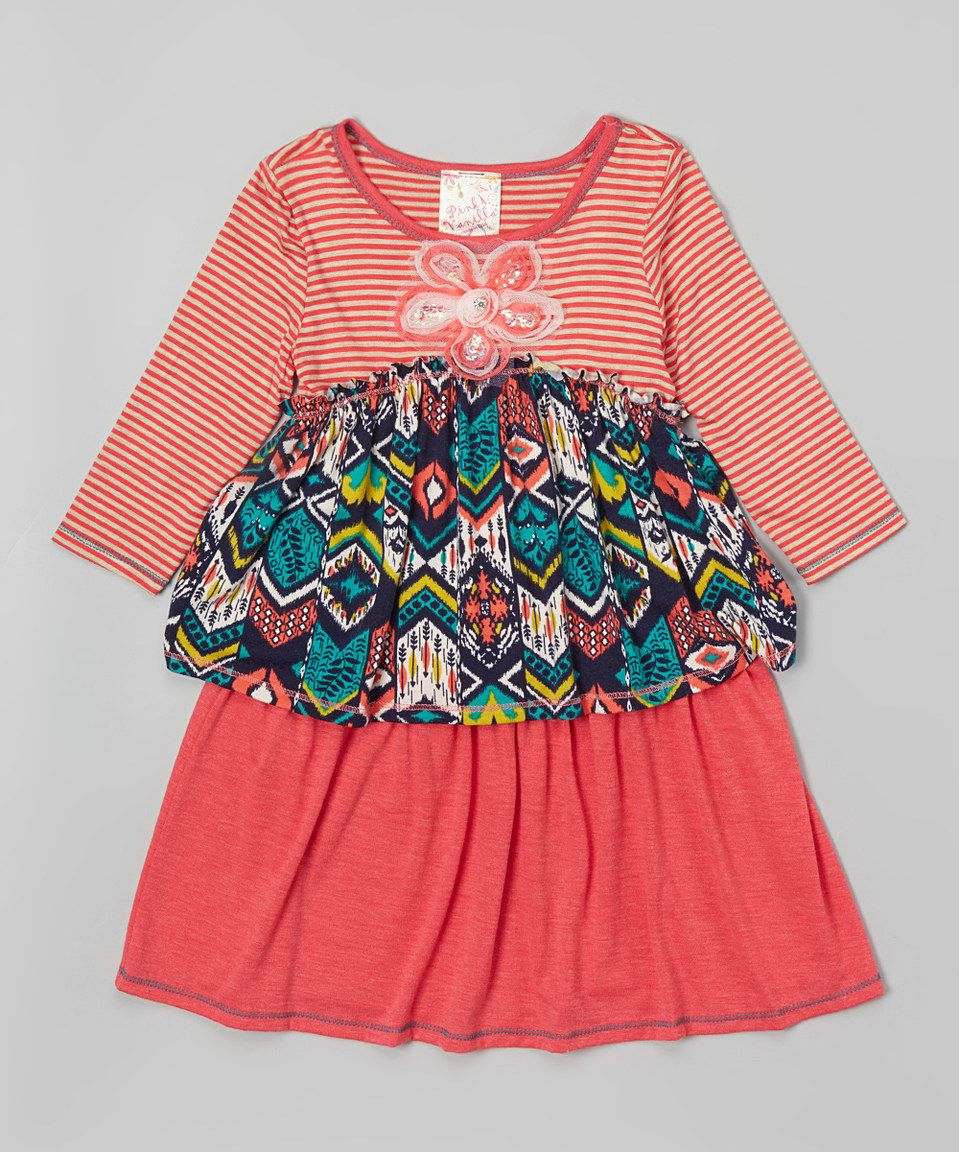 Love this Pink Vanilla Coral & Taupe Geometric Tiered Dress - Toddler & Girls by Pink Vanilla on #zulily! #zulilyfinds