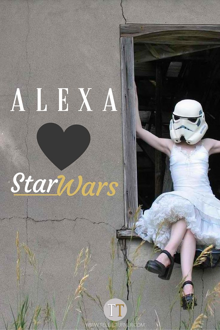 "Alexa loves Star Wars- www.theteelieblog.com Wednesday, May the Fourth is Star Wars Day. Celebrate with Alexa—just ask: ""Alexa, give me a 'Star Wars' fact."" #amazonecho"