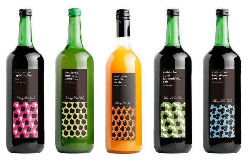 Gestaltung der Etiketten für Fruchtsäfte verschiedener