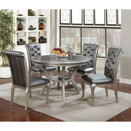 Furniture Of America Minham Contemporary Round Dining Table Silver Walmart Com Round Dining Room Sets Round Dining Room Round Dining Table Sets