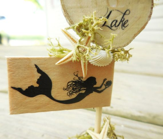 MermaidSign Miniature Fairy Garden Sign by TinkerTreasuresMinis
