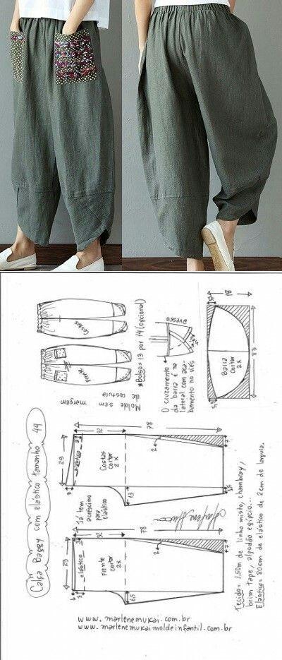 Calça baggy com elástico | Costura, Patrones y Molde