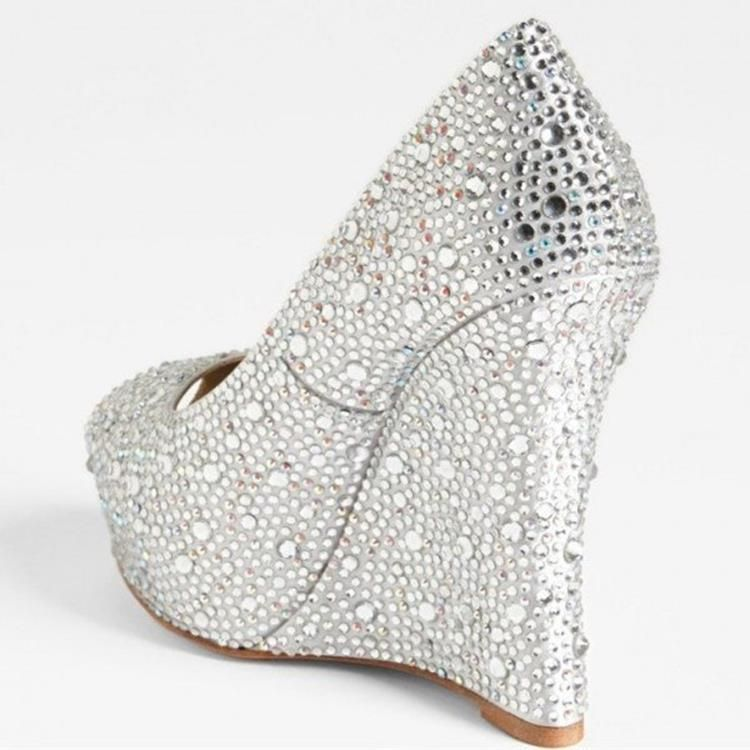 52 Stunning Wedge Silver Wedding Shoes Cozy Wedding With Covered