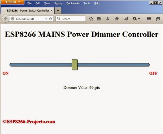 ESP8266 Projects: MPDMv3 - WIFI Mains Power Dimmer / Switch - Web