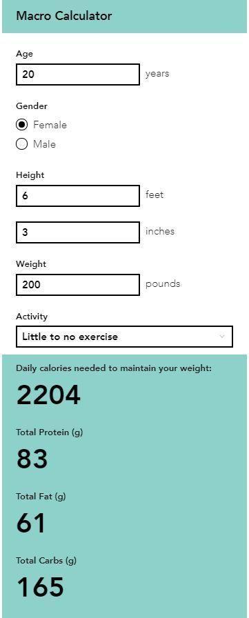 Macro Calculator | Macro calculator, Weight charts, Basal ...