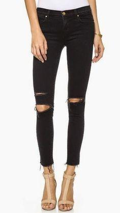 Ripped black skinny jeans diy