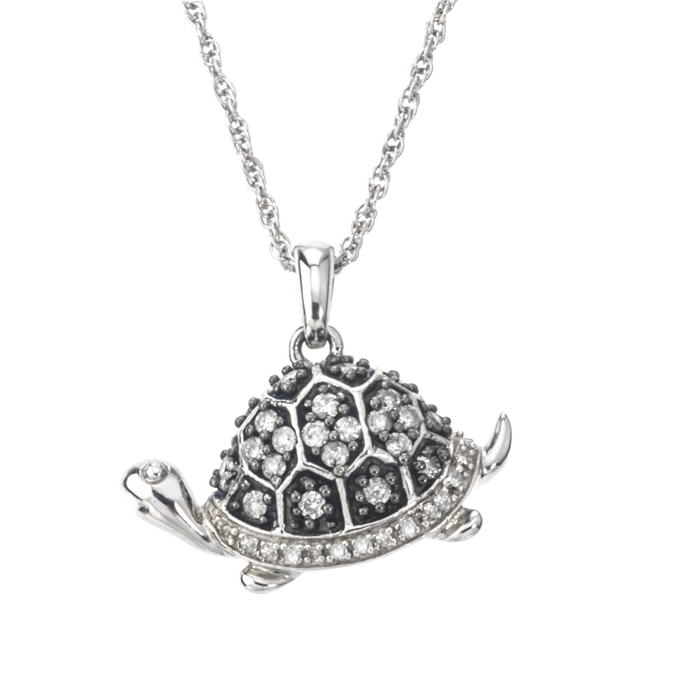 Silvermist Silver Sterling 3 8ct Tdw Grey And Diamond Turtle Necklace By Ever One
