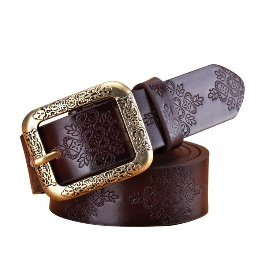 Women/'s  Genuine Leather Belts Cowhide Embossing Design Carving Buckle
