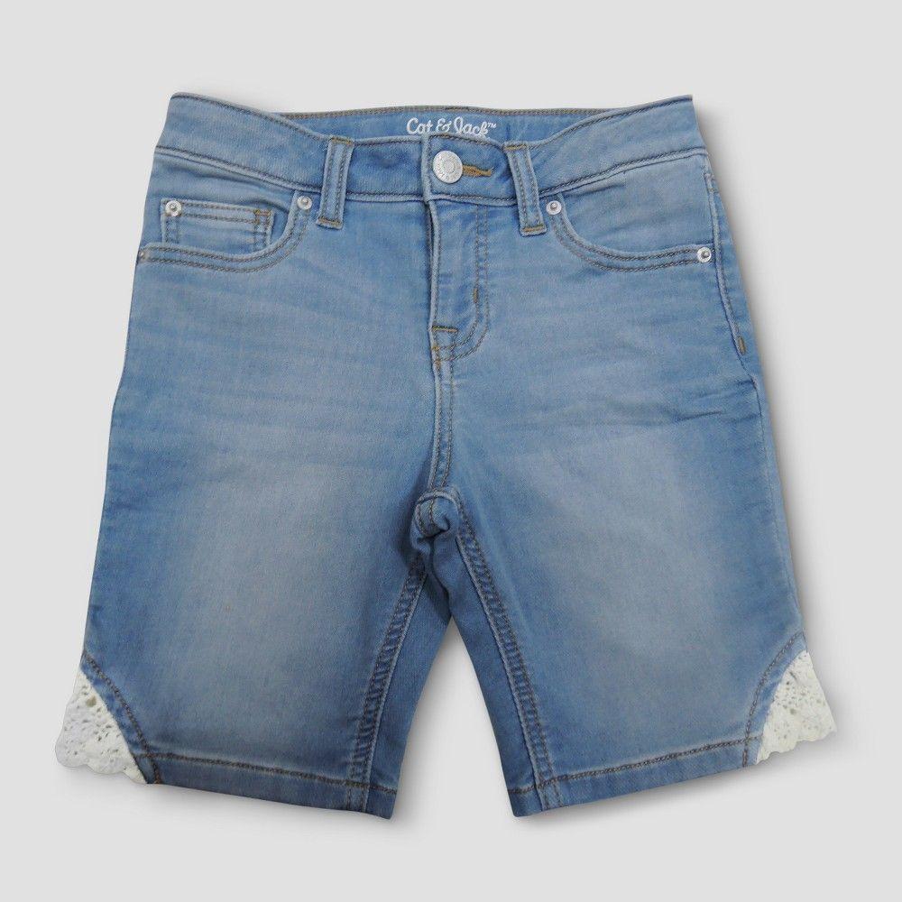 Girls' Jean Shorts Cat & Jack Light Denim Xxl, Girl's, Blue