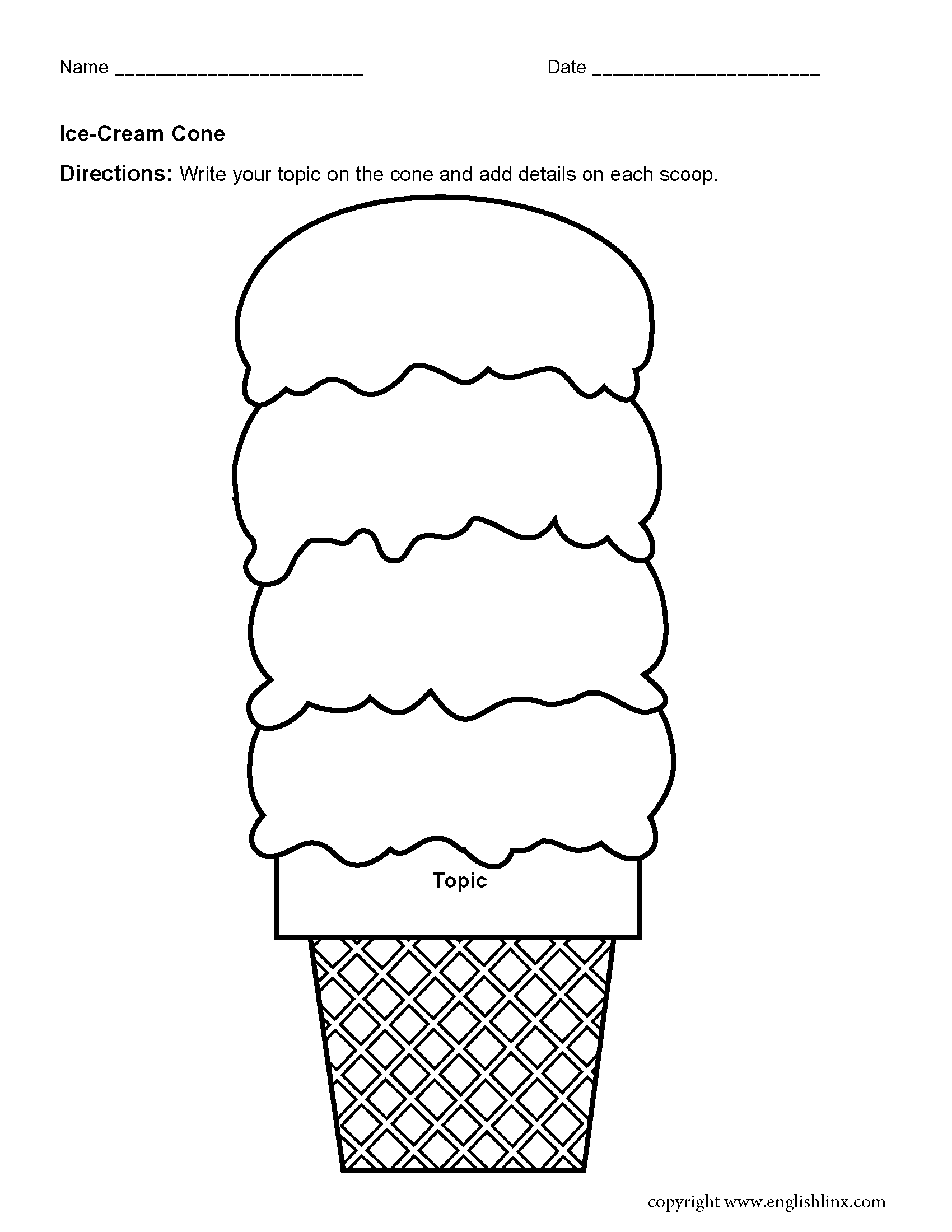 Ice Cream Graphic Organizers Worksheets