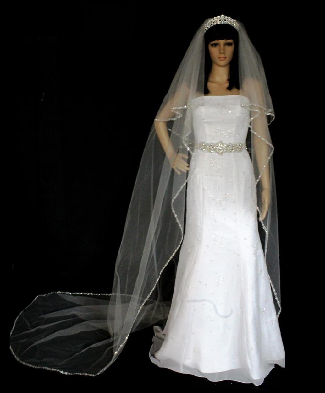 Two Tier Royal Cathedral Length Beaded Rhinestone Wedding Veil