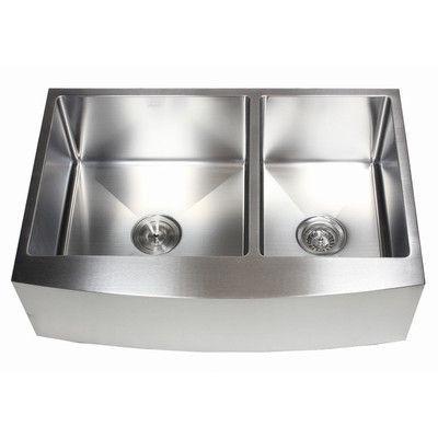 Emodern Decor Ariel 33 X 21 60 40 Double Bowl Farmhouse Kitchen Sink