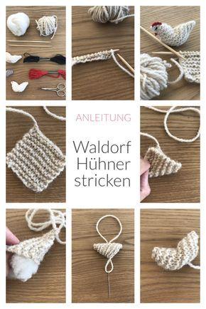 Little Waldorf Chickens Knit, Waldorf Farm Knitting Instructions   – Basteln Handarbeit