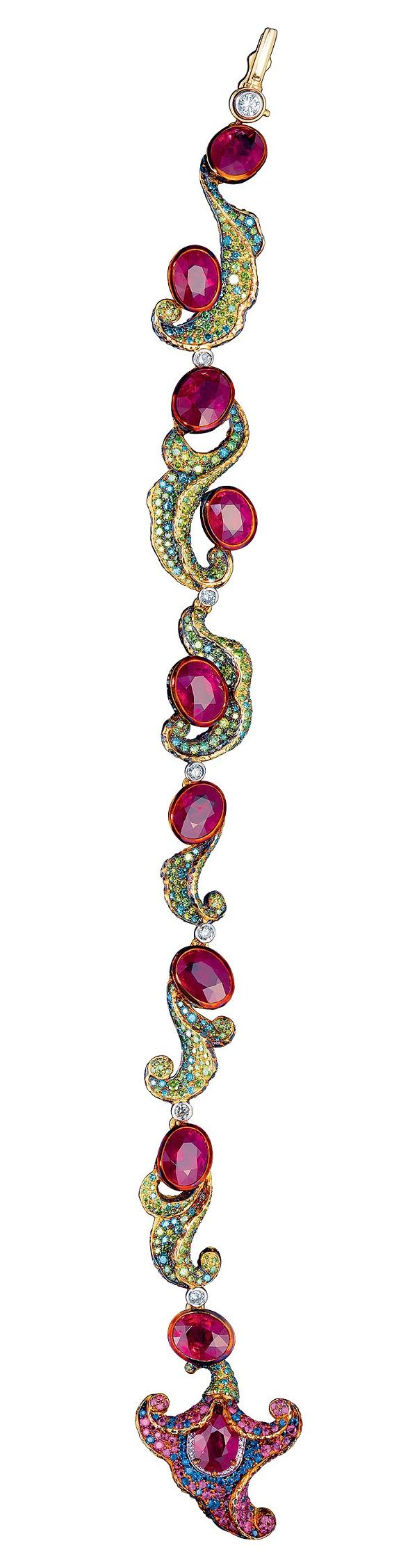 Matching ruby bracelet that can also be used as an extension on the necklace.