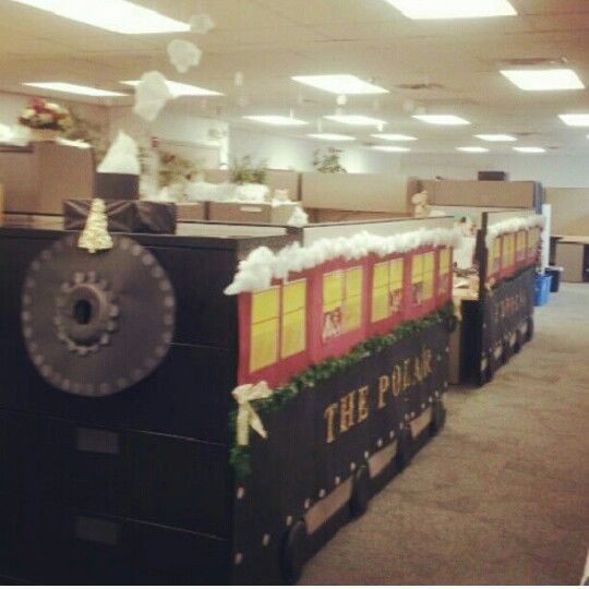 Pola r express cubicle created by an accounts receivable for Cubicle theme ideas