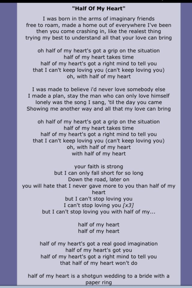 Lyric maroon five love somebody lyrics : John Mayer Lyrics from Half of my Heart | For the luv of JCM ...