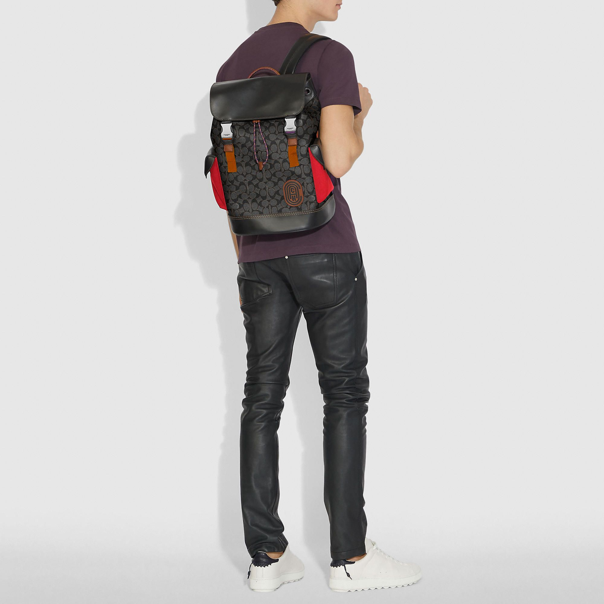 ffc5f1deab75 COACH Men s Rivington Backpack In Signature Canvas With Patch Backpacks  Backpacks