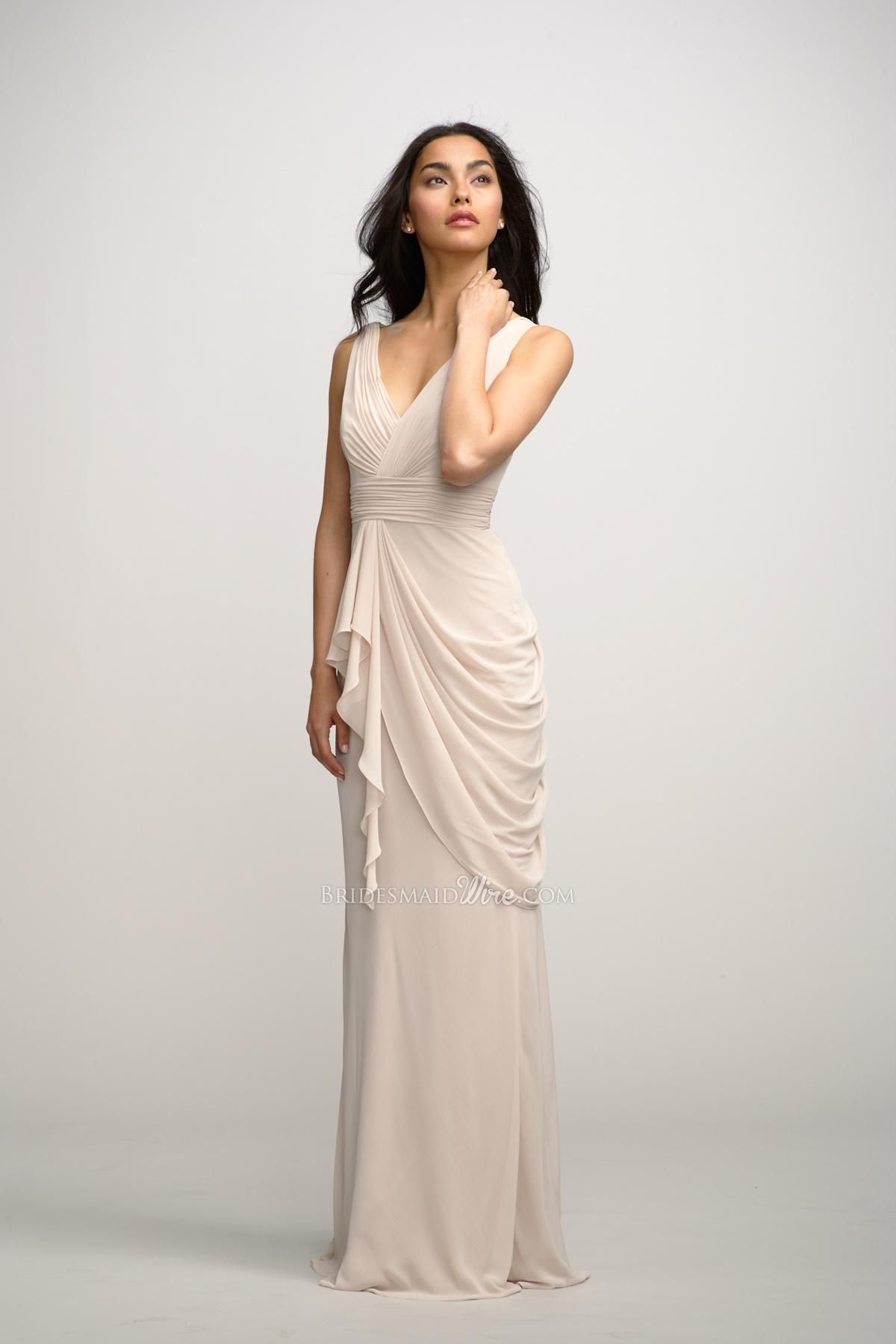 elegant vanilla chiffon v-neck floor length asymmetrical side drape ...