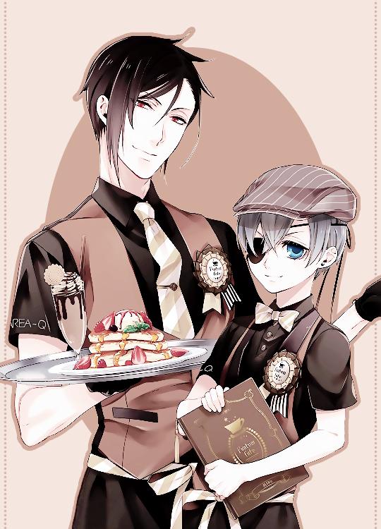 """Ciel and Sebastian by Yana Toboso for ∗Funtom Cafe"
