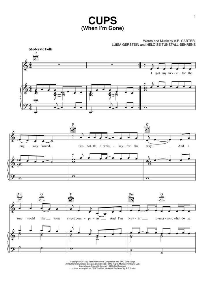Cups When I M Gone Pitch Perfect Piano Sheet Music By Anna