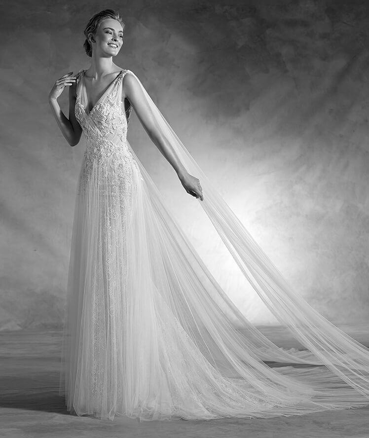 NEPAL - Vestido de novia sirena en encaje, de tirantes y escote pico ...