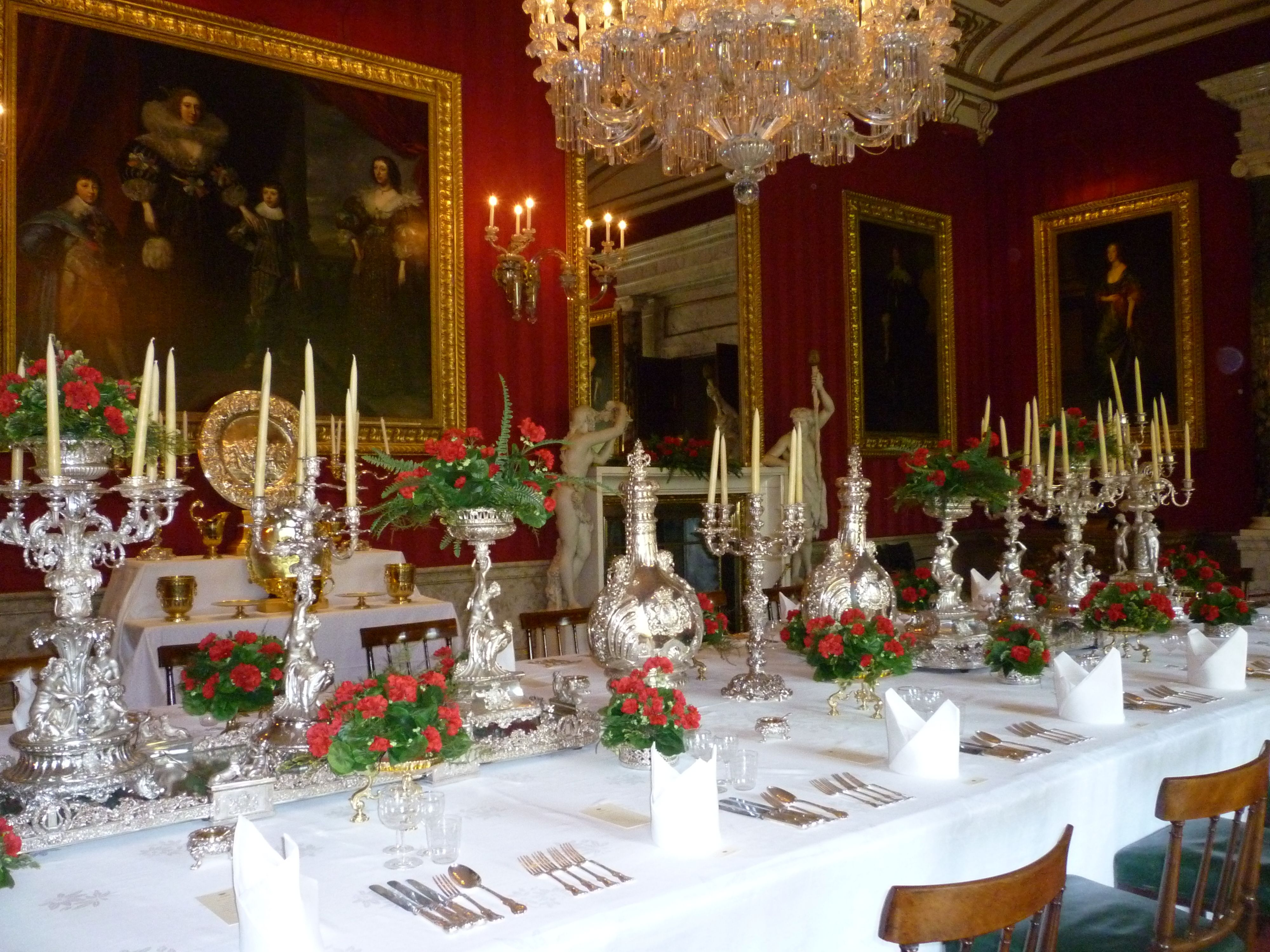 Formal Dining Table Laid For A Large Private Dinner Party At Chatsworth House