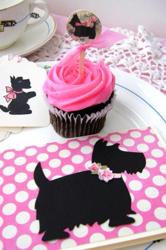 Pink & black Scottie dog theme