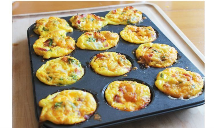 Breakfast Casserole Muffins: Simply fill muffin tins with your favorite breakfast flavors: egg, onion, cheese, ham, bacon, etc. Then, bake.
