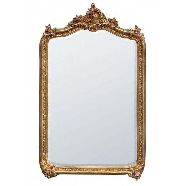 Louis Floor Standing Bevelled Mirror Antique Gold