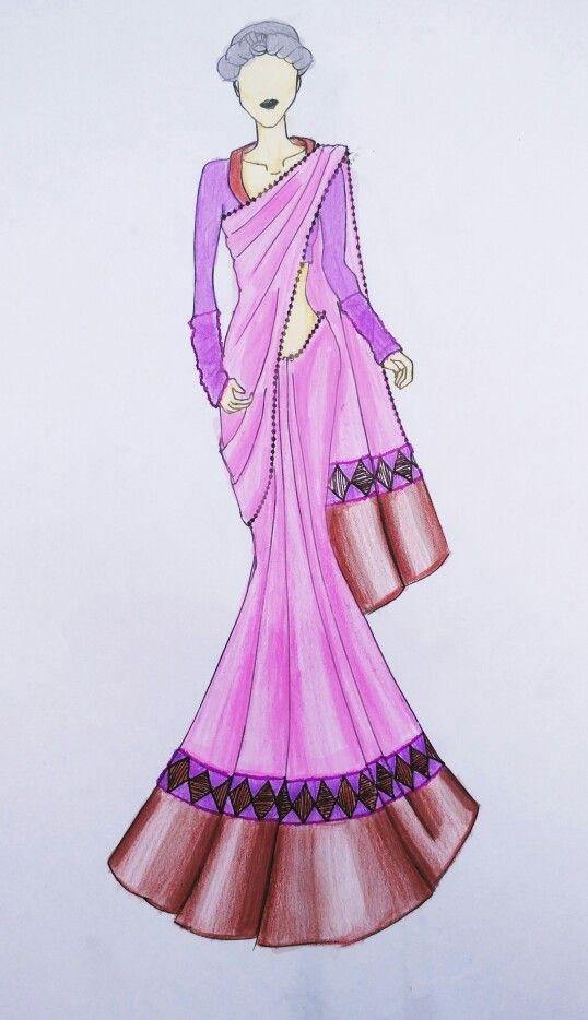sari indian dress drawing