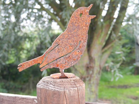 Rusty Kingfisher Rusty Metal Bird Garden Gift Mum Gift Bird Fence Topper Bird Gift Rustic Bird Decor