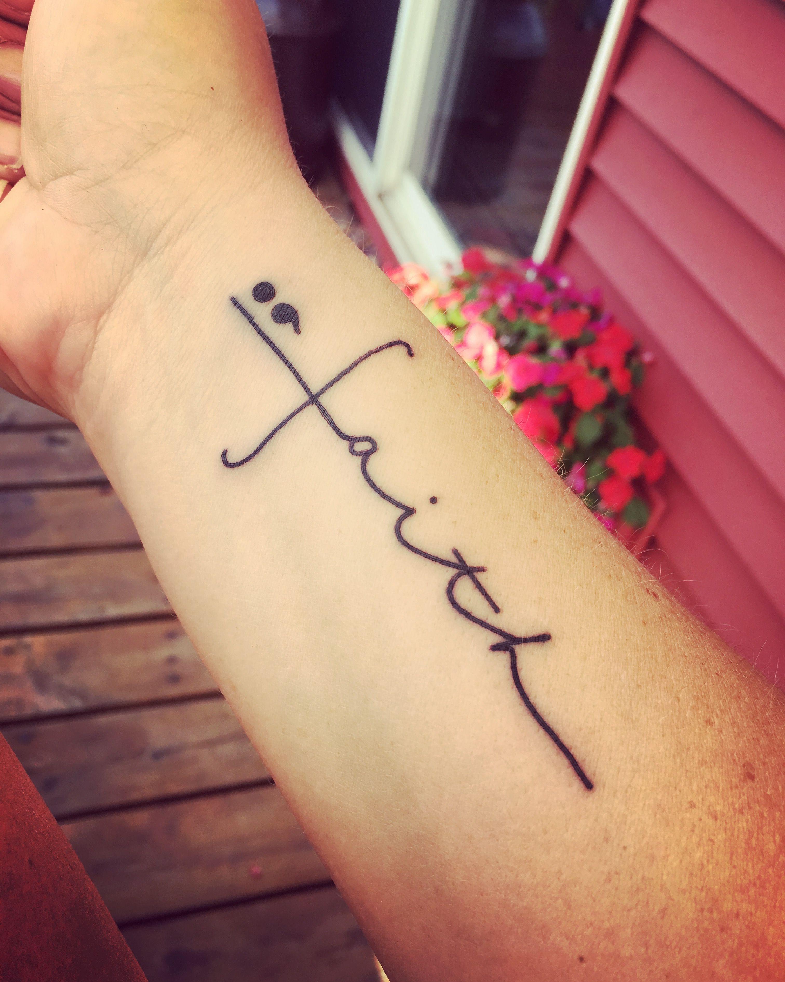 Cross Faith Semi Colon Faith Tattoo Tattoos For Women Sharpie