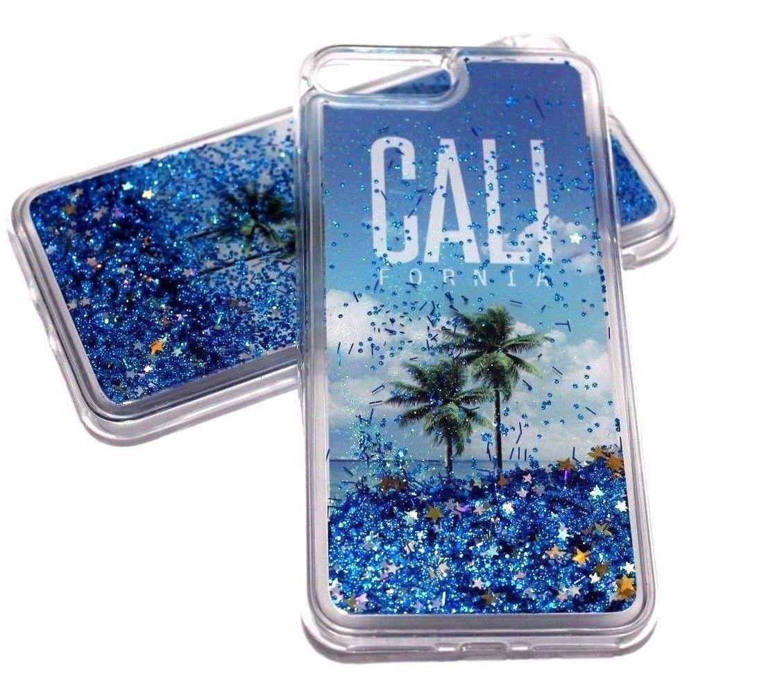 buy online c7774 563f2 For Iphone 7 Plus 8 Plus - California Blue Glitter Sparkle Liquid ...
