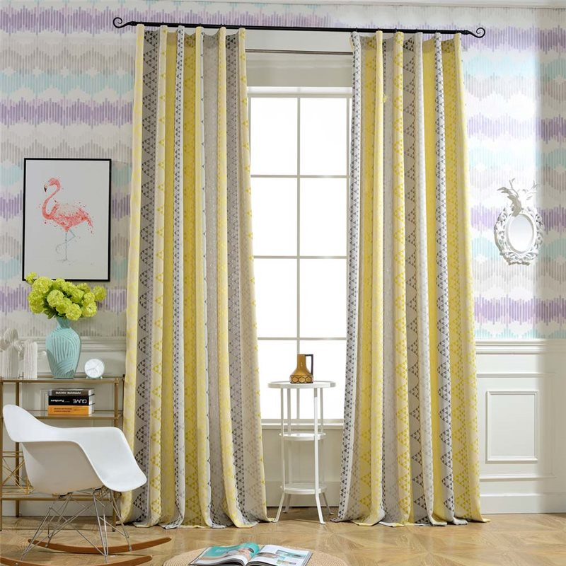 Modern Semi Blackout Curtain Thicken Triangle Jacquard Curtain Living Room Curtain One Panel Curtains Living Room Curtains Blackout Curtains #retro #living #room #curtains