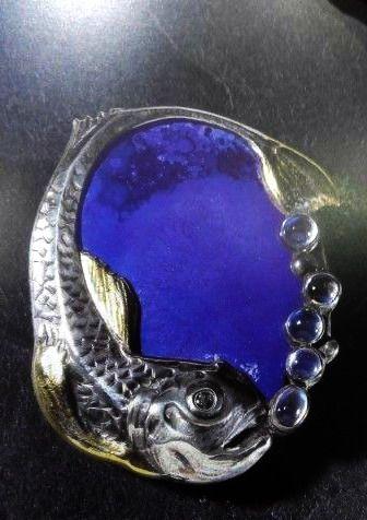 Pin, silver, vermeil, moonstone, Royal Copenhagen porcelain - Eric Magnussen, circa 1914