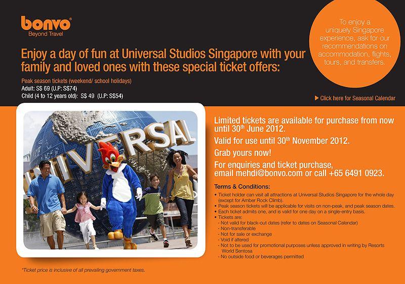 Bonvo Presents Universal Studios Singapore Promotion Universal Studios Singapore School Holidays Universal Studios