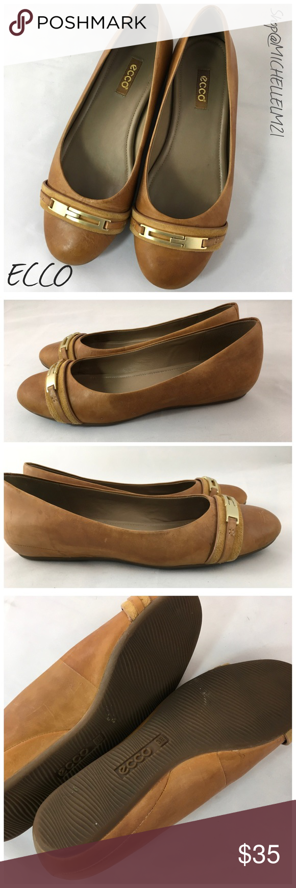 ECCO women's leather flats Ecco leather buckle detail flat. Leather with rubber sole, brushed gold buckle with leather toe detail. Preowned with distressed leather look. Size 8 women's US 38 EUR. #0500. Bundle in my Closet and save. I ship same day or next almost always. No Paypals or Trades. Ecco Shoes Flats & Loafers
