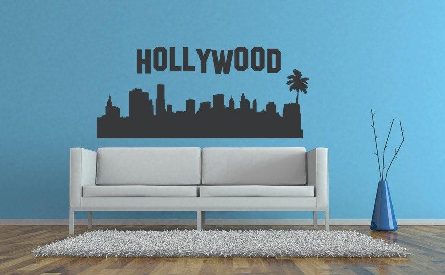 Hollywood Wall Decal Hollywood Sign California Skyline Wall