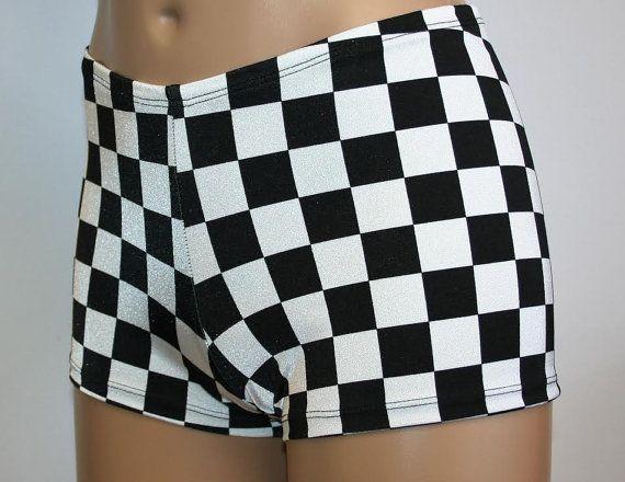 265662e3da 4 Designs Black and White Booty Shorts Checker Flag Race Diamond Stripe  Triangle Nascar Dance Cheer Gym Rave Custom Hot Boy Shorts Pole