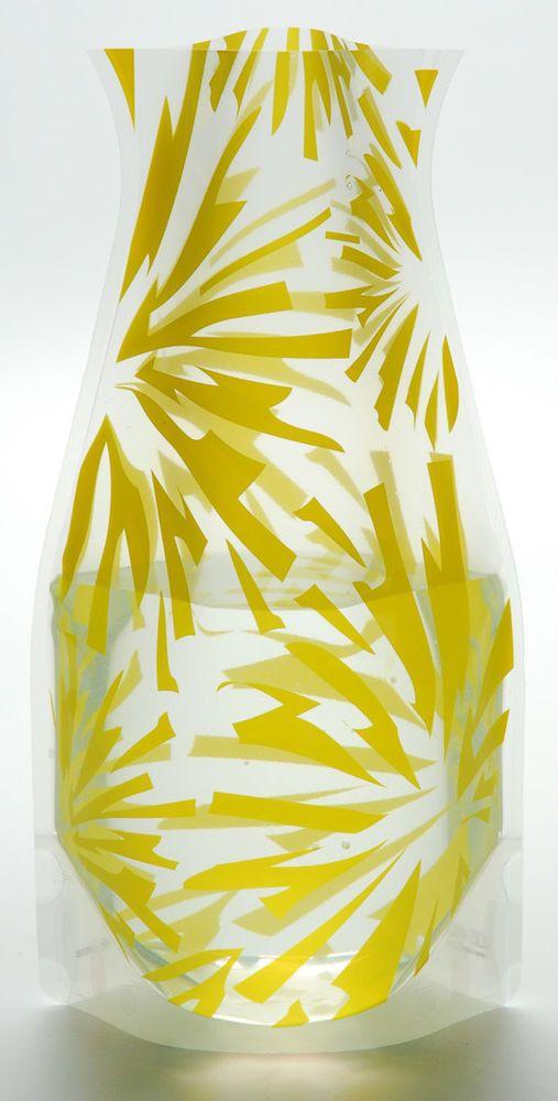Vazu Expandable Flower Vase Reusable Collapsible Blumina Yellow