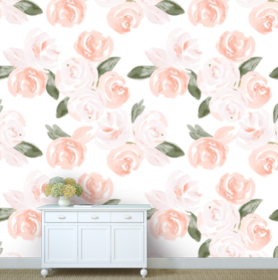 Watercolor Boho Floral Removable Wallpaper Modified Tot